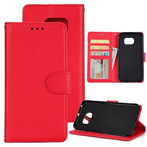 XHD-Phone protection XHD-Telefonschutz für Samsung Mit Lanyard, Card Slot, Magnetische Wölbung Öffnen Sie die Telefon Shell für Samsung Galaxy S7 Einfach & praktisch (Color : Red) (Plus Slip Classic Schutz)