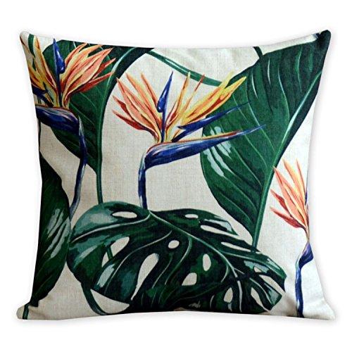 American almohada flamencos y hoja de palmera arte moderno lino y algodón funda de almohada cómodo cojines decorativos almohadas decoración del hogar sofá throw pillow cover 17,7* 17,7pulgadas