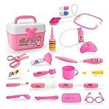 YAKOK 22Pcs Arztkoffer Kinder, Rosa Kinder Arztkoffer Arzt Spielzeug mit Stethoskop Kinderarztkoffer für Kinder Kleinkind Junge Mädchen ab 2-5 Jahre