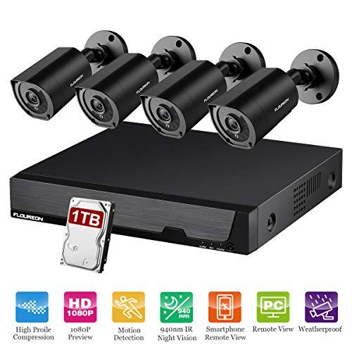 FLOUREON 8CH DVR Telecamera di Sicurezza 5 IN 1 1080N Videoregistratore CCTV DVR 4X 3000TVL 1080P Visore notturno IR invisibile per esterni Resistenti al Movimento, Accesso Remoto con 1 TB HDD