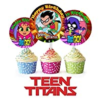 Crafting Mania LLC 12 Teen Titans Inspired Party Picks, Cupcake Picks, Cupcake Toppers #1