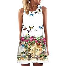 b500ff84b7a12 Elecenty Damen Ärmellos Sommerkleid Minikleid Strandkleid Partykleid  Mädchen Blumenmuster Kleider Frauen Mode Kleid Kurz Hemdkleid Reizvolle