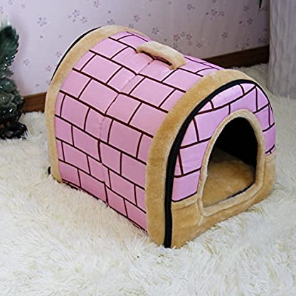 FamilyMall Warm Soft Fleece Pet Dog Cat Bed House with Mat Soft Pad Mat 3