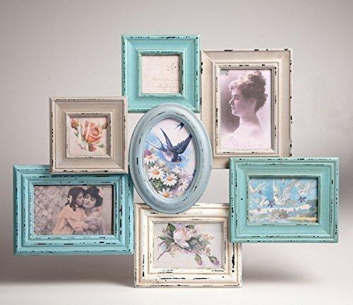 Marco para Fotografías de Estilo Collage de Marcos Color Azul Vintage Shabby Chic para Colgar de un Muro
