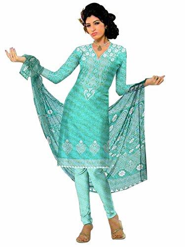 Araham Printed Blue Softcrepe American Crepe Dress Material Unstitched Salwar Suit