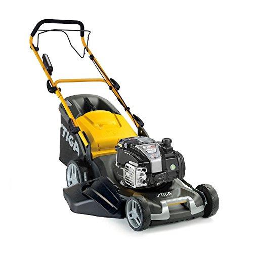 Stiga Combi 50Seq B–Tondeuse à essence moteur Briggs & Stratton 150cm³ 2,1kW démarrage électrique, avancement à traction, Coque en acier, lame de 48cm, 5hauteurs de coupe, mulching (mod. 2018)