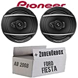 Lautsprecher Boxen Pioneer TS-A1670F - 16 cm 3-Weg Koaxiallautsprecher Auto Einbausatz - Einbauset für Ford Fiesta MK7 Front Heck - JUST SOUND best choice for caraudio
