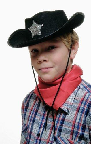 DRESS ME UP - Kinder Cowboyhut Sheriff schwarz Sheriffstern Hut Western Wilder Westen Kinderhut Stern Marke Abzeichen (Western Hüte Kinder)