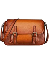 S-ZONE Genuine Leather Handbags Vintage Shoulder Bag Tote Bag Cross Body Purse And Messenger Bag For Womens And...