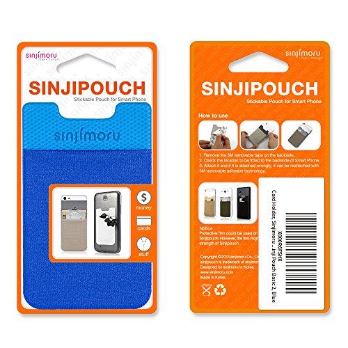 Sinjimoru B2 Smart Wallet (aufklebbarer Kartenhalter), verwendbar als iPhone Wallet / Handy Geldbeutel / Kartenetui für iPhones, iPhone Cases, Android Smartphones. Sinji Pouch Basic 2, Beige. Blau
