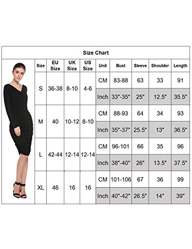 Modetrend Femmes Crayon Robe Manches Longues Elagant Moulante Robes de Cocktail Mariage Soirée Noir