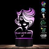 Parrucchiere Personalizzato Parrucchiere Nome Salone di Bellezza 3D Touch LED Luce Notturna Parrucchiere Ragazza Lampada da Notte Parrucchiere Taglio di Capelli Regali di Compleanno di Natale