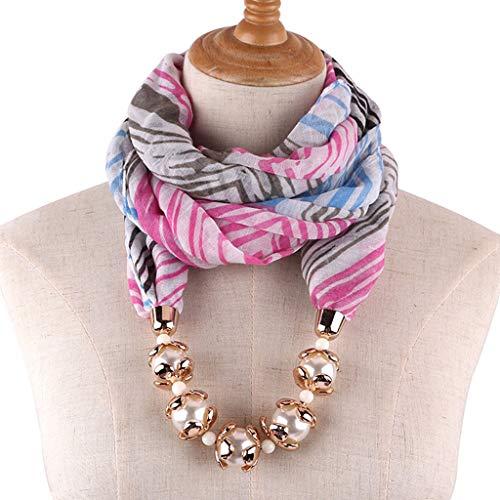 LoveLeiter Damen Schal Halskette Damen Geschenkidee Vielseitig Einzigartig Hängende Schals Infinity-Schal mit Schmuck Zubehörteil