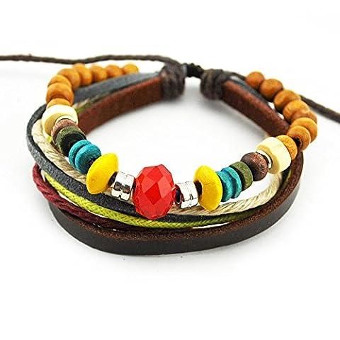 Echt Spark rot Charm Kristall bunt Holz Perlen Leder String Multi Stränge verstellbar Wickelarmband