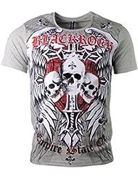 Black Rock T-Shirt - Skull - Totenkopf - Empire State of - mit Strass acce3c83e7