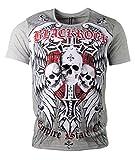 Black Rock T-Shirt - Skull - Totenkopf - Empire State of - mit Strass Steinen - in Verschiedenen Farben (XL, Grau)