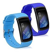 kwmobile Cinturino in Silicone Compatibile con Samsung Gear Fit2 / Gear Fit 2 PRO - 2X Fascetta Fitness Tracker con Fibbia ca. 13-20 cm