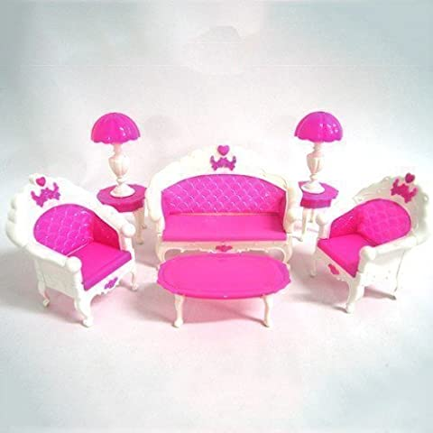 Wohnzimmermöbel-Set für Puppen - Rosa - Beinhaltet: Sofa, Stühle, Tisch