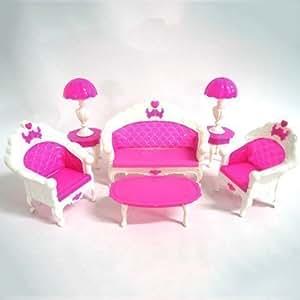 Barbie sindy doll sized pink living room furniture set - Barbie living room dress up games ...