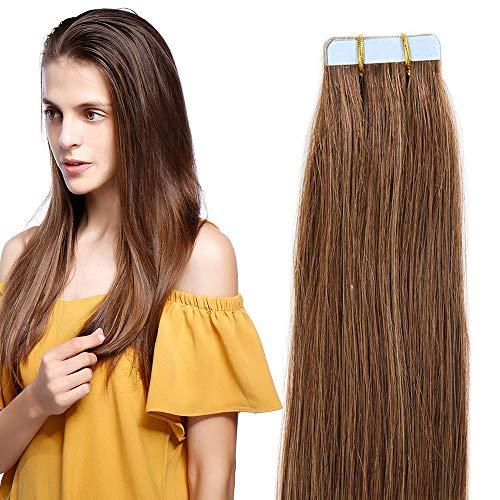 40cm extension capelli veri adesive riutilizzabili - 20 fasce * 2g #06 castano scuro - 100% remy capelli umani peruviani