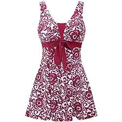 Wantdo Traje de Baño para Mujer Una Pieza Monokini Estampado Elástico Rojo EU38-40
