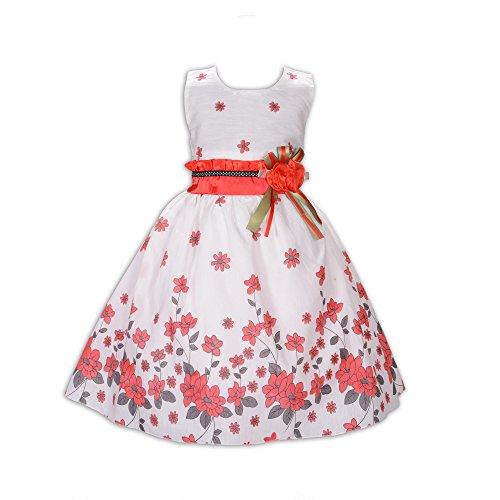 Cinda Mädchen Baumwolle Kleid Kirsche- Gr. 128-134 (Etikettgröße: 18), Weiß und Rot