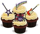 REGENBOGEN NOTEN MISCHUNG Rockgitarre, Schlagzeug, Geburtstag - Spaß-neuheit PREMIUM AUFRECHT STEHEND Essbare Wafer-papier Kuchen Spitzenwerken Dekoration