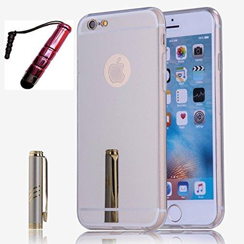 YANINA Coque Housse etui swag pour Apple iphone 6G/6S Plus 5.5 case mince Protection étui TPU silicone miroir Luxe brillant - Rose Argent
