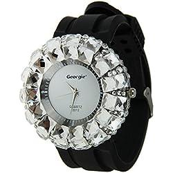 LY Unisex Lovers Crystal Rhinestone Quartz Wristwatch Silicone Strap Watch&Storage Tin (White Dial) Strap Color sent at random