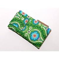 Handytasche aus Stoff - HAWAIIAN FLOWERS GRÜN - mit Klett für HUAWEI P10 und P10 lite - gepolsterte Handyhülle - Smartphonetasche / Smartphonehülle - Handy-Tasche / Handy-Hülle - Geschenk Weihnachten Geburtstag - HAWAII - Baumwolle - cotton case / cover / sleeve - waschbar