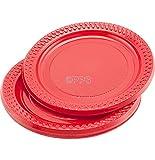 Party & Paper Solutions 18x rosso plastica piatti–18cm confezione spedizione gratuita