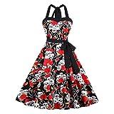 Lover-Beauty Vestidos Blancos Floral Negro Pequeñas Vintage Vestido Pinup Retro Mujer Vestido