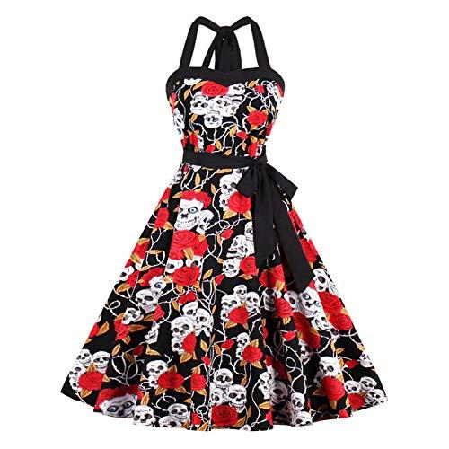 Damen Kleider Langarm midi sexy Blumen festlich elegant Sommer Minikleid Halloween Retro A-Linie Party Cocktail und Kostüm