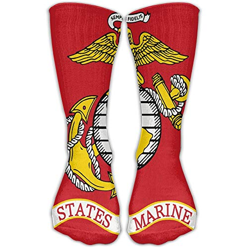 UFHRREEUR Flag of The United States Marine Corps Unisex Crew Athletic Sock Fashion Comfort Blend Winter Novelty Funny Crew Socks Sports Outdoor One ()