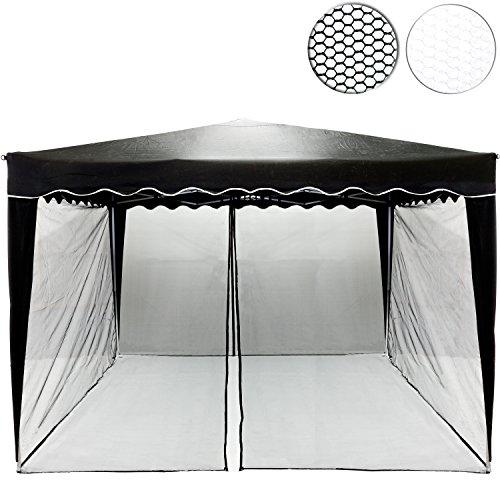 Moskitonetz für 3x3 Pavillon, Farbwahl: schwarz oder weiß, 2x Reißverschluss, mit Klettbändern...
