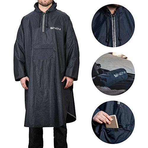 NENI Premium Regenponcho für Damen und Herren   Wiederverwendbarer Unisex Regenschutz in elegantem Blau   Regencape als perfekte Outdoor-Bekleidung zum Camping, Festival und Wandern