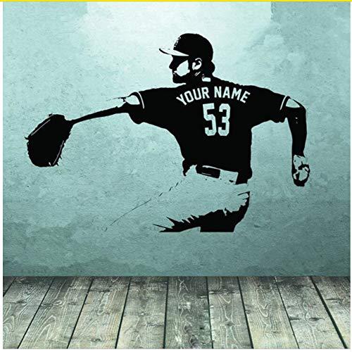 Wandsticker Baseball-Spieler Wandkunst Aufkleber Aufkleber Wählen Name Nummer Personalisierte Wohnkultur Wandaufkleber Für Kinderzimmer Jungen Schlafzimmer 56 X 77 cm