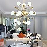 12-Licht Sputnik Kronleuchter Beleuchtung, Golden Modern Pendelleuchte Gold Mid Century Deckenleuchte für Esszimmer Bed Room Küche Zimmer Licht