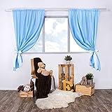 LULANDO Kinderzimmer Vorhänge Kindervorhänge Gardinen (155 cm x 120 cm) mit zwei Schleifenbändern zum Verzieren. In kinderfreundlichen Motiven erhältlich. Farbe:  White Dots / Blue