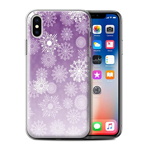 Stuff4 Gel TPU Hülle / Case für Apple iPhone X/10 / Pack 5pcs / Schneeflocke Nebel Kollektion Lila