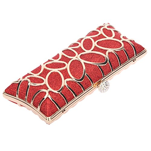 Bonjanvye Hnad Baguette Party Clutch Bag for Ladies Evening Party Silver Red