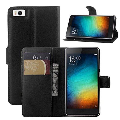 Tasche für Xiaomi Mi 4C Hülle, Ycloud PU Ledertasche Flip Cover Wallet Case Handyhülle mit Stand Function Credit Card Slots Bookstyle Purse Design schwarz
