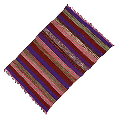 """Striped Woven Hand Rag Dari Cotton Chindi Rug Throw Floor Runner Recycled Rugs 66 """"X 45"""" Pouces"""