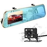isYoung 1080P Full HD Video Cámara Espejo Dash Cam Espejo Retrovisor Cam con cámara delantera y trasera, G-Sensor, grabación de bucle, 170 grados