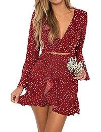 65b2e07c74db Janly® Sommer Kleider, Vintage Rüschen Maxi kurz Kleid für Frau Sexy  V-Ausschnitt