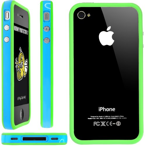 Horny Protectors Bumper für Apple iPhone 4/4S transparent/grün mit Metallbutton blau/grün