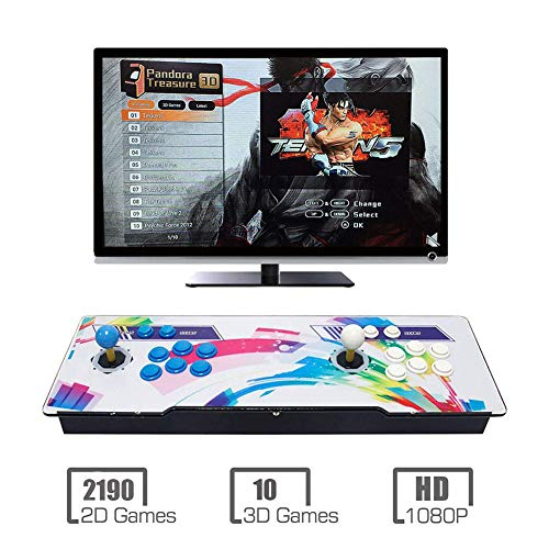 Videoautomat Classic, 2 Spieler, 1920x1080 Full HD Multiplayer Home Arcade Konsole, 2200 Spiele All in 1 Double Stick Buttons Power HDMI - Pc 2100 Laptop