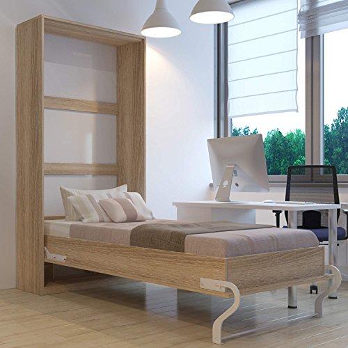 Hochkantbett Schrankbett Smartbett mit Matratze Foldaway bed 90 x 200 cm Vertikal Eiche Sonoma