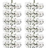 144 Stück künstliche Papierrosen mit Stiel, schöne künstliche Kunstblumen, Garten Haus, Blumenstrauß Blumen-Dekoration, Weiß