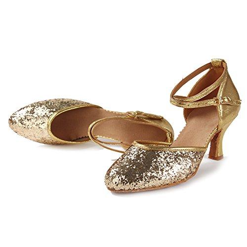 HROYL Donna IT-WX Leather scarpe da ballo latino/moderno/jazz/latino/chacha/samba/balletto Luminosa Oro
